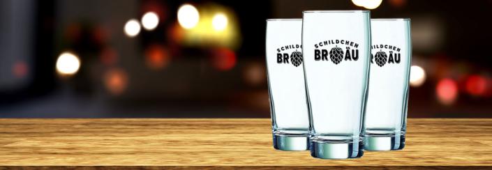 Schildchen Bräu Glas